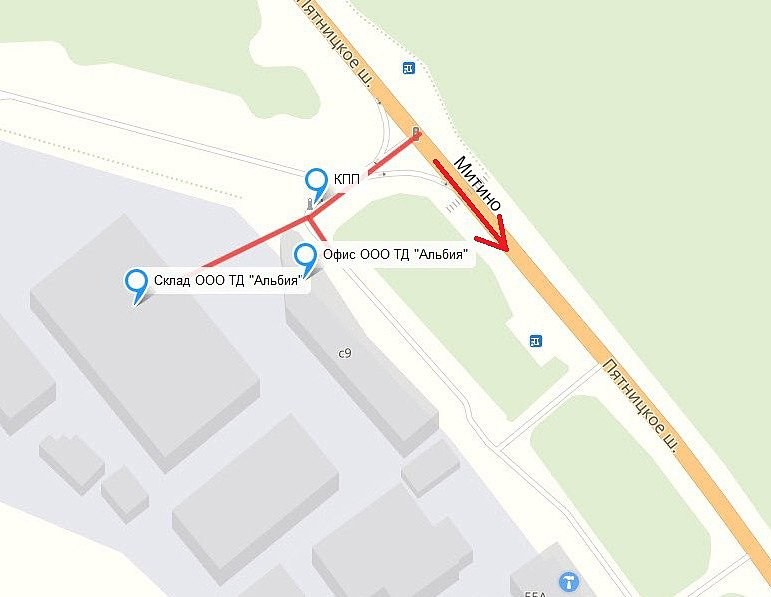 Схема проезда в офис ооо ТД Альбия
