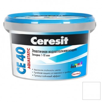 Затирка Ceresit CE 40 Aquastatic №01 белая 2 кг